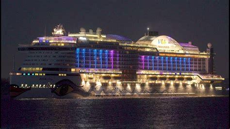 aidaprima cruise ship night view youtube
