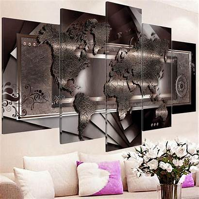 Panel Canvas Abstract Map Usa Installation