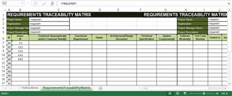 requirements traceability matrix template shatterlioninfo