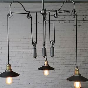 Vintage edison industrial pulley pendant lights adjustable