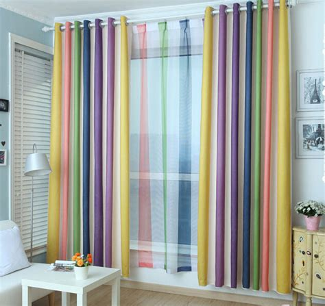 multi color curtains rainbow multi color blackout striped curtains for bedroom