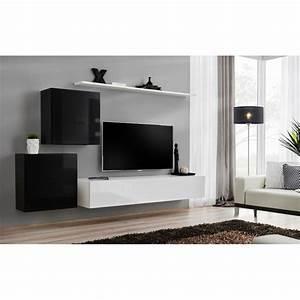 Meuble Tv Mural Blanc : meuble tv mural design switch v 250cm noir blanc ~ Dailycaller-alerts.com Idées de Décoration