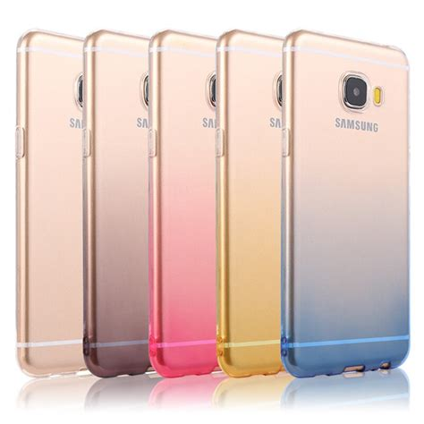 for samsung c9 pro transparent soft silicone shell gradient glitter thin tpu cover for
