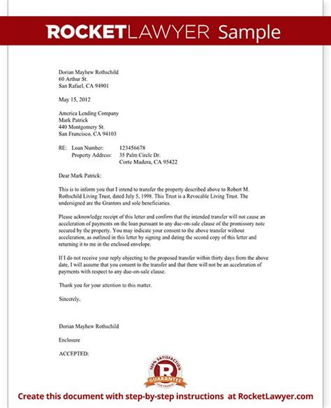mortgage trust letter transfer  property business