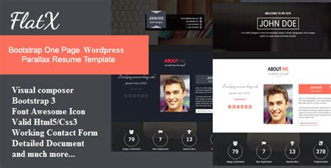 Bootstrap One Page Resume Template by Flatx Bootstrap Onepage Parallax Resume Template Resources For Tutorials Themes Tips