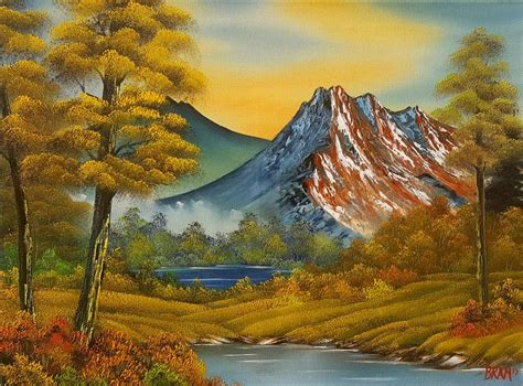 Bob Ross Style Original Oil Painting Fall Mountain