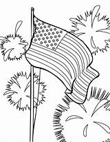 Coloring Flag Pages American Fireworks sketch template