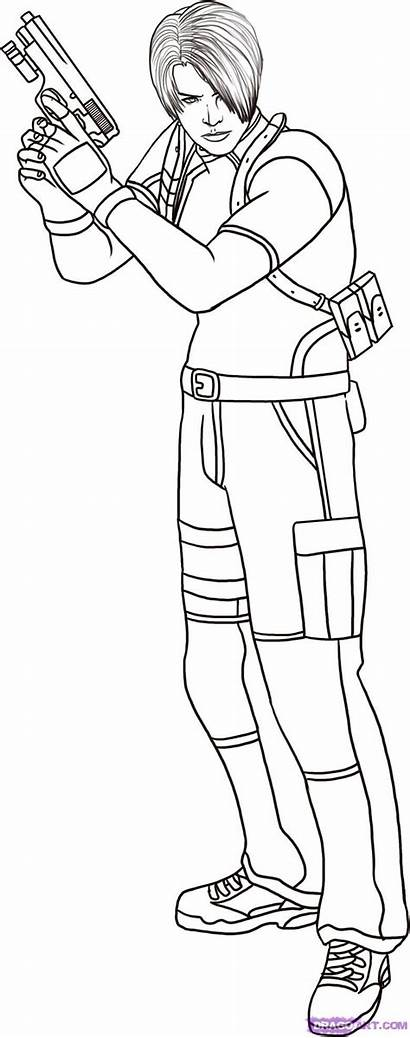 Resident Evil Leon Draw Coloring Pages Step