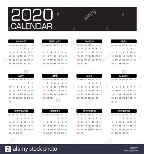 simple year calendar week imagenes de stock simple