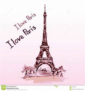 Eiffel Tower,lettering,pink Hearts Hand Drawn Watercolor Decor Stock Vector Image: 61302686