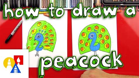 draw  cartoon peacock  young artists youtube