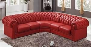 Canape Angle Rouge : deco in paris canape d angle capitonne cuir chesterfield rouge chester rouge2a2 ~ Teatrodelosmanantiales.com Idées de Décoration