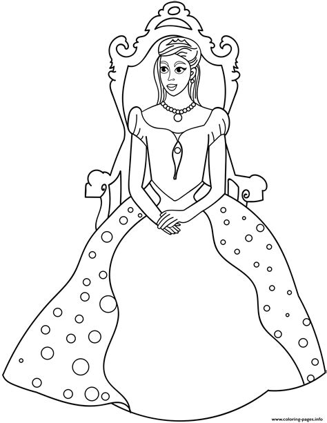 princess sitting  throne coloring pages printable