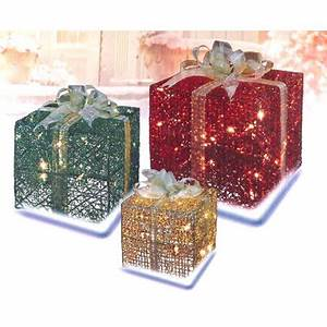 3 Piece Glittering Gift Box Lighted Christmas Yard Art