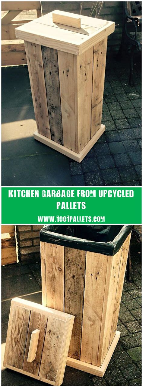 pallet kitchen garbage pallet  diy wood projects