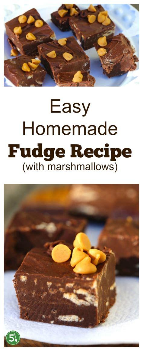 easy fudge recipe  marshmallows  silver spoons