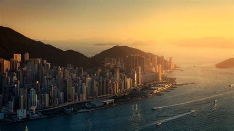 hong kong cityscape skyscraper city sunset wallpapers