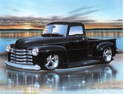 Find 1955 56 Chevy Stepside Pickup Hot Rod Truck Art Print