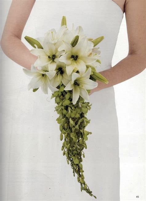 diy cascading lily orchid wedding bouquet from florist