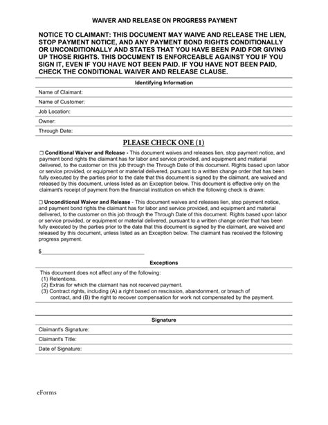Free Real Estate Lien Release Forms  Pdf  Eforms Free