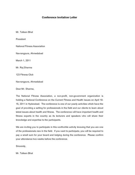 conference invitation letter template  format