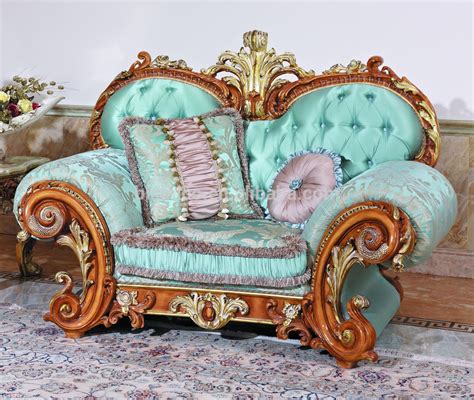 canape style baroque blue fabric sofas