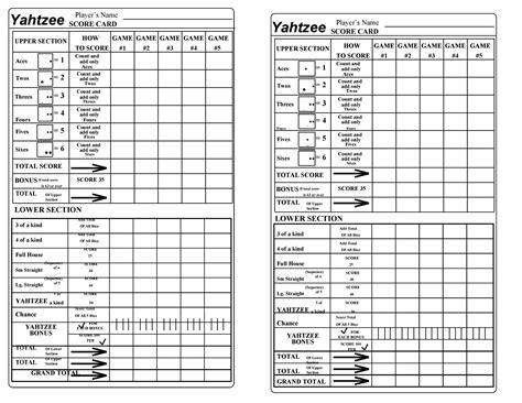 templates yatzee score sheets