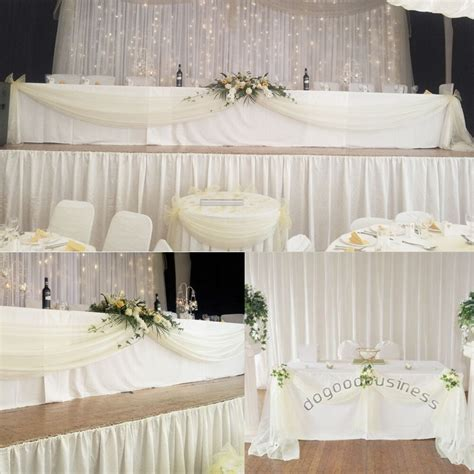 wedding sheer drapes 5m 1 35m top table swags sheer organza diy wedding