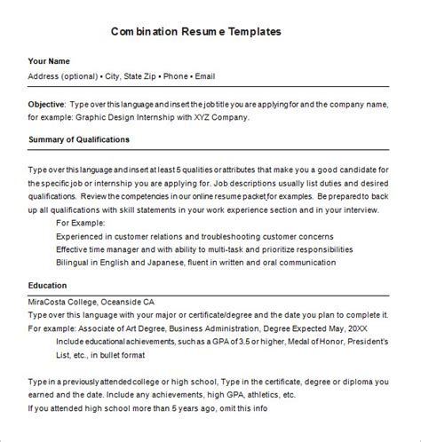 Combination Resume Format by Combination Resume Template 6 Free Sles Exles