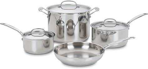 cuisinart   chefs classic stainless  piece cookware setsilver  cookware sets