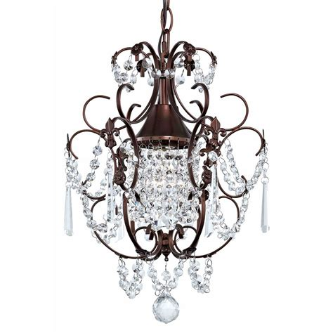 mini chandelier pendant light in bronze finish