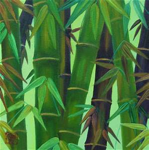 Hellenne Vermillion Art: Bamboo with leaves oil painting
