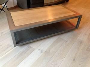 Table Basse Fer Et Bois : table basse bois acier ~ Teatrodelosmanantiales.com Idées de Décoration
