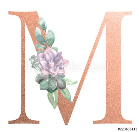 watercolor monogram alphabet letter  rose gold foil stock photo  royalty  images