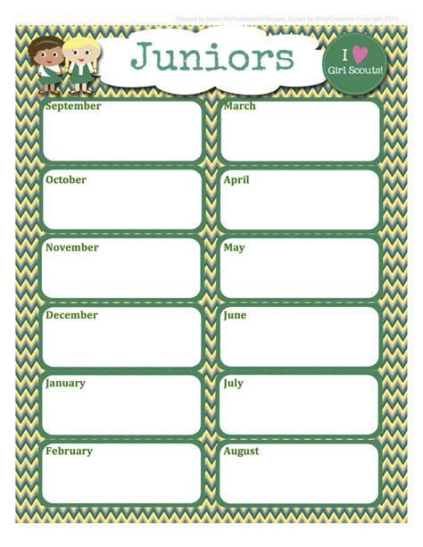 Scout Calendar Template My Fashionable Designs Scouts Free Juniors Calendar