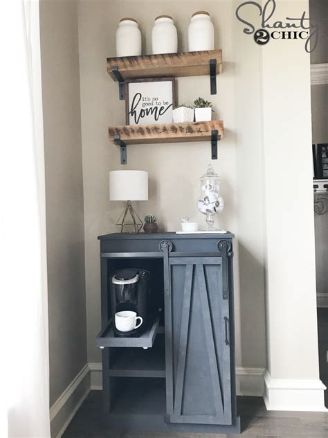 diy barn door coffee cabinet  great solution  limited space shanty  chic