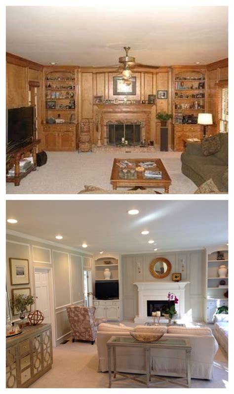 color before and after pictures living room before and after paneling painted updated