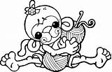 Crochet Clipart Yarn Clip Knitting Funny Crocheting Cartoon Cliparts Hooks Needle Charity Colouring Digi Stamps Humor Clipground 1000 Monkey Characters sketch template