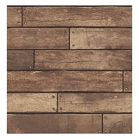 buy nailhead plank removable wallpaper  weathered brown