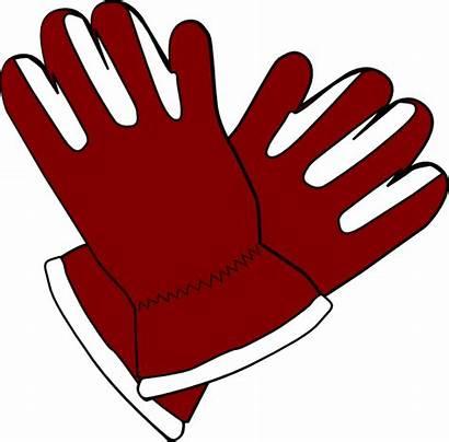 Gloves Clipart Clip Winter Santa Vector Outline
