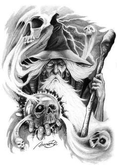 Free Wizard | Free Wizard Tattoo Designs | Tattoos | Pinterest | Wizard tattoo, Tattoos and