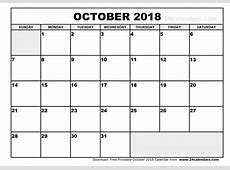 October 2018 Calendar Template calendar month printable
