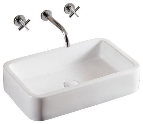 rectangular white ceramic vessel sink bathroom sinks houzz