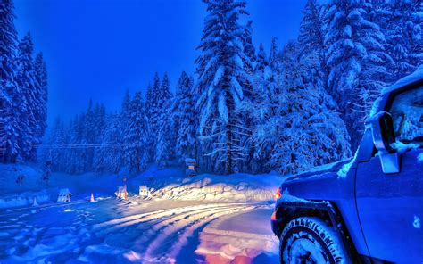 forest, Car, Sky, Snow, Winter Wallpapers HD / Desktop and ...