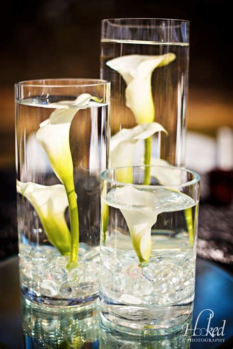 red  white wedding  submerged calla lilies