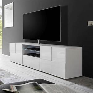 Meuble Tv Blanc Laqué : meuble tv blanc laqu brillant sofamobili ~ Teatrodelosmanantiales.com Idées de Décoration