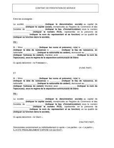 modèle de contrat de prestation de service word mod 232 le de contrat de prestation de service mod 232 le de