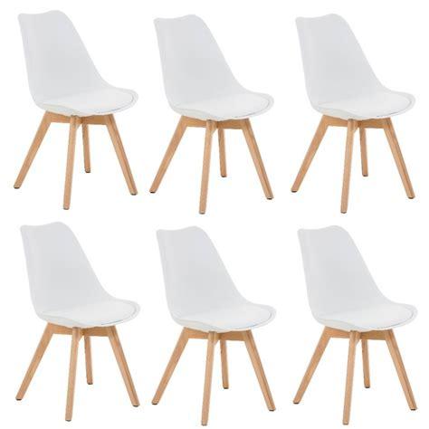 lot 6 chaises lot de 6 chaises de salle à manger scandinave simili cuir