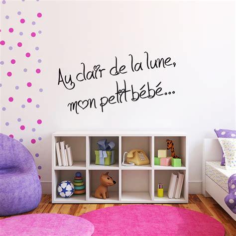 stickers phrase chambre bébé sticker phrase pour chambre d 39 enfant au clair de la lune