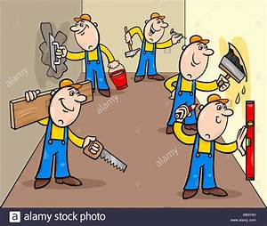 Cartoon Illustration Of Funny Manual Workers Characters Or